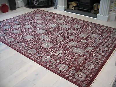 WOBURN BELLA AFGHAN ZIEGLER STYLE RED DUCK EGG BLUE WOOL RUG 1.8 x 1.2m ANTIQUE