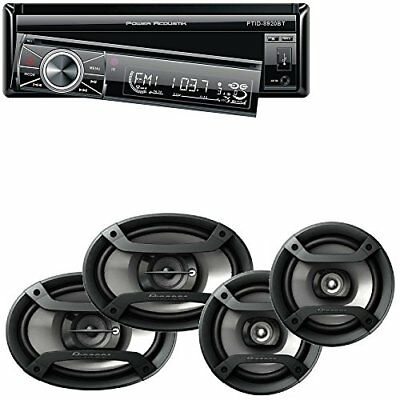Power Acoustik 7″ Single Din in-Dash Flip-up AM/FM/DVD/USB Bluetooth + Two Pairs