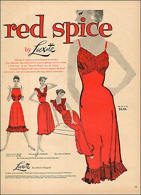 1954 vintage lingerie AD RED SPICE by LUXITE, great fashion Art 071417