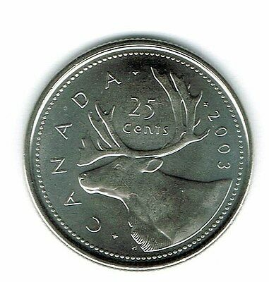 2003-P Canadian Brilliant Uncirculated Business Strike Crown 25 Cent coin!