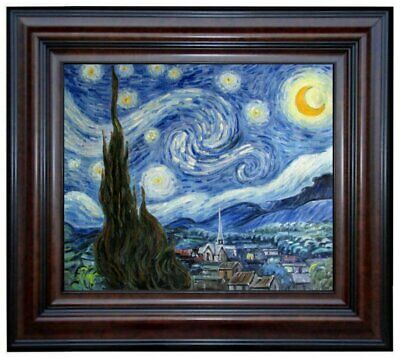 Framed Van Gogh Starry Night Repro. Quality Hand Painted Oil Painting, 20x24in