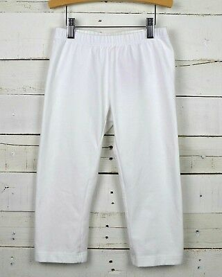 Girls HANNA ANDERSSON Sz 140 - 10y Solid White Cropped Leggings Bottoms