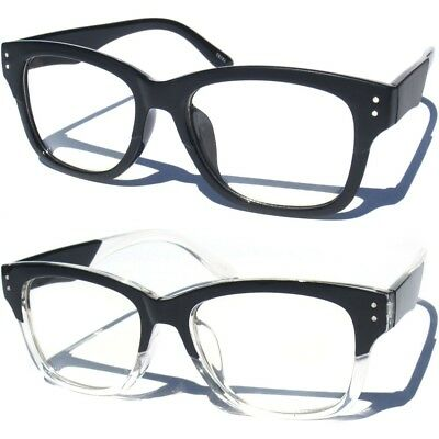 664655fa379 THICK HORN RIM Retro Unisex Men Women Nerd Geek Frame Clear Lens Eye ...