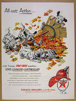 1954 dalmatian puppies playing art Texaco Fire Chief Gasoline vintage print Ad