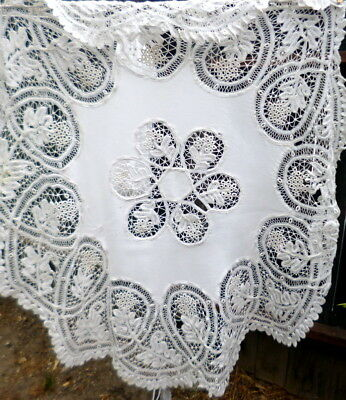 "EXQUISITE Vintage Antique Hand Made LACE 48"" Round Linen Tablecloth"