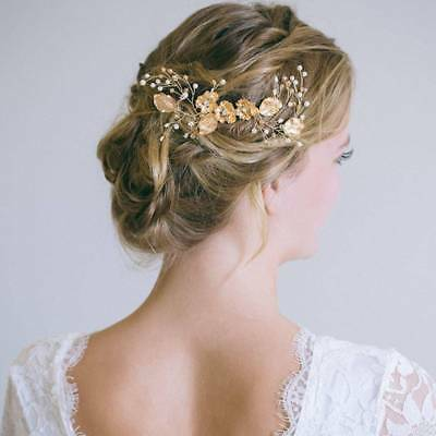 Handmade Pearl Leaf Flower Bridal Hair Comb Wedding Headpieces Hair Jewelry