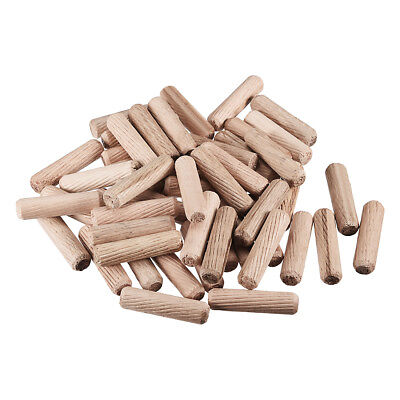 10x40mm Wooden Dowel Wood Kiln Dried Fluted Beveled Hardwood 50pcs