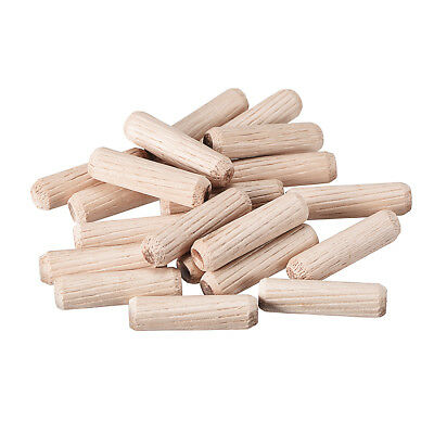 8x30mm Wooden Dowel Wood Kiln Dried Fluted Beveled Hardwood 20pcs