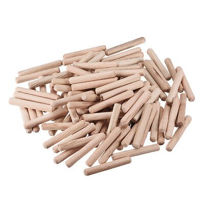 6x40mm Wooden Dowel Wood Kiln Dried Fluted Beveled Hardwood 100pcs