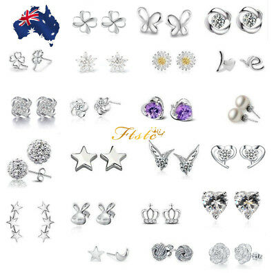 Genuine Sterling Silver 925 Stud Earring Cubic Zirconia Crystal Solid Back AUS