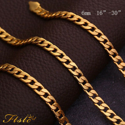 Men's Boy Stainless Steel 18K Gold Filled Curb Cuban Chain Necklace Jewelry