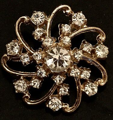 Vintage Gold Brooch Rhinestones Sun Flower Pin Estate Antique Perfect Condition