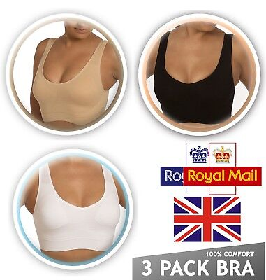 2 Pack Seamless Sports Non Wired/Padded Bra Crop Top Vest Yoga Comfort Shapewear