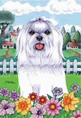 Large Flag Maltese Dog Breed Spring Colors House Flag 28 x 40