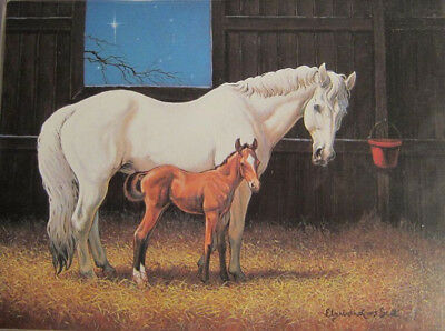 Xmas Cards MARE and FOAL in Barn Holiday Christmas Cards 8 per pkg