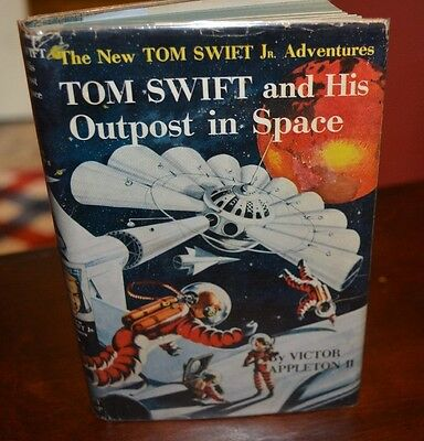 Very Rare Great Copy Tom Swift And His Outpost In Space With Hardy Boys Back