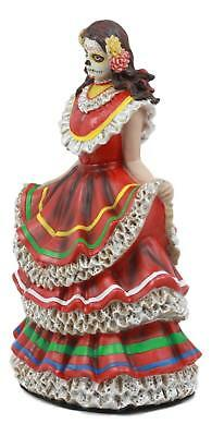 DOD Day of the Dead Mexican Halloween Lady Dancer in Red Skirt Dress Figurine