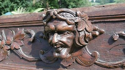 MAGNIFICENT 19hc LONG GOTHIC OAK CARVED PANEL WITH GREEN MAN CARVED CENTRALLY