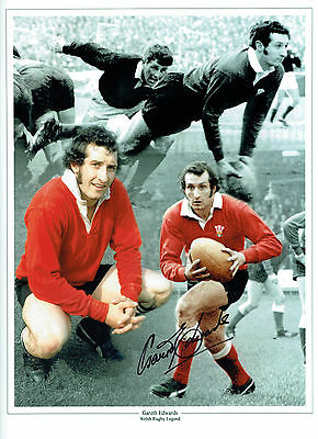 Gareth EDWARDS Signed Autograph 16x12 Wales Welsh RUGBY Montage Photo AFTAL COA