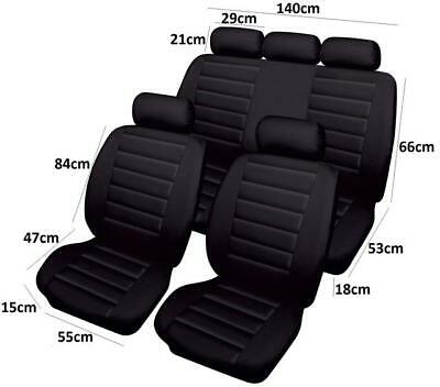 Hard Wearing Leather Look Full Set Of Black Car Seat Covers Protectors