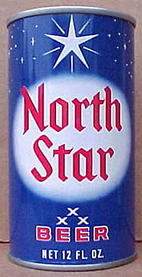 NORTH STAR BEER old ss CAN with STARS, Cold Spring Brewing, MINNESOTA 1982, gd1+