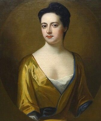Large 18th Century English Duchess Of Marlborough Gold Dress Portrait Painting