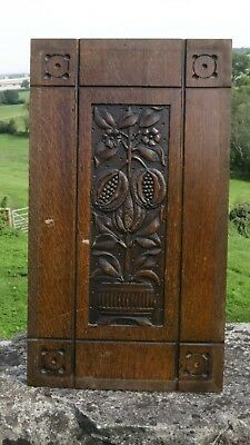 SUPERB 19thc OAK PANEL WITH CARVED POMEGRANATES ON POTTED TREE