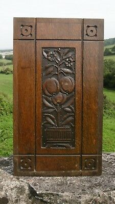 SUPERB 19thc OAK PANEL WITH CARVED APPLE TREE IN POT
