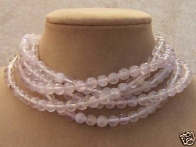 Lavender Pale Genuine Quartz Multi-Strand Big Beaded Necklace Choker Or Longer