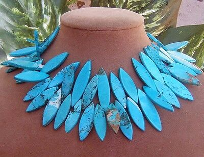Ocean Blue Turquoise Spike Spiked Necklace Pendants Big Gems Gold Or Silver Clsp