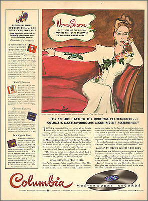 1941 vintage AD COLUMBIA Masterworks Records Art NORMA SHEARER on Sofa 061417