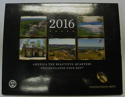 2016 P and D US Mint America the Beautiful Uncirculated 10 Coin Quarter Set NICE