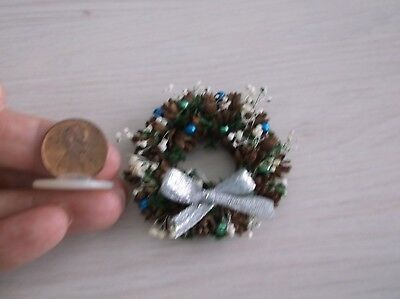 Dollhouse Miniature Decorated Pinecone Christmas Wreath - Blue & Green