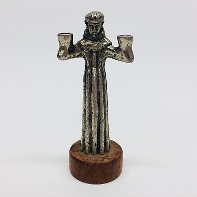 Miniature Gothic Medieval Monk Friar Pewter 2 Candle Holder on Wood Base