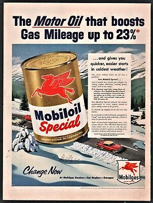 1954 MOBIL Mobiloil Special Motor Oil Vintage PRINT AD~appeared late Fall of '54