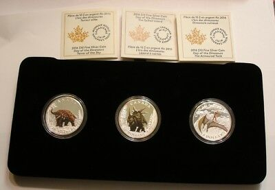 2016 DAY OF THE DINOSAURS 3 COINS SET 1/2 OZ (3) $10 Canada in Box