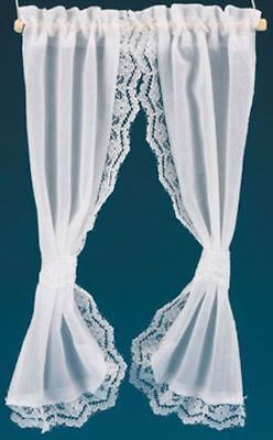 Handcrafted Lace Trim White Ruffled Tie Back Curtains 1:12 Dollhouse Miniatures
