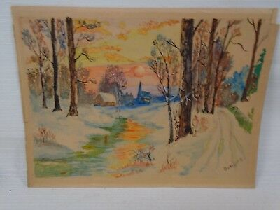 Original Vintage Signed Watercolor Painting BURTON Winter Cabin Sunset Church