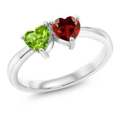 1.05 Ct Heart Shape Green Peridot Red Garnet 925 Sterling Silver Ring