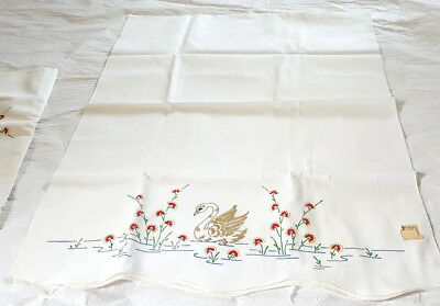 2 vtg Cotton Hand Fabric Paint Pillowcase Tubes - Unfinished Estate Finds Swans