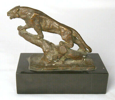 Antique French Bronze Old Mountain Lion Cat Statue Artist Signed & Foundry Stamp