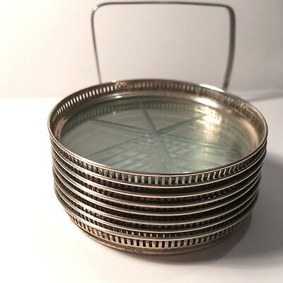 8 Antique Stacked Sterling Silver & Crystal Coaster Set w/Holder