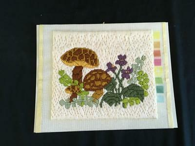 Finished crewel work embroidery needlepoint mushrooms floral 13 x 11 matted
