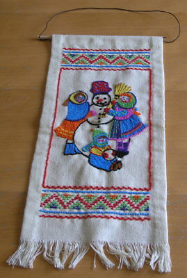 Vintage Christmas Theme Crewel Embroidery Panel Wall Hanging Snowman Kids 8x18""