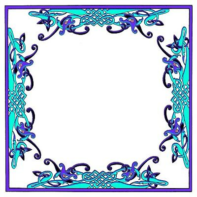 Celtic Knot Frame in Purple and Aqua Blue Counted Cross Stitch Pattern