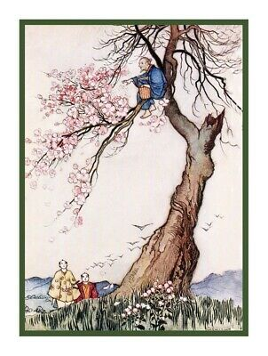 Japanese Wind in Cherry Blossom Tree Warwick Goble Counted Cross Stitch Pattern