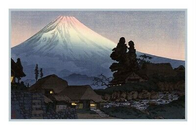Japanese Takahasi Shotei Mt Fuji Evening Scene Counted Cross Stitch Pattern
