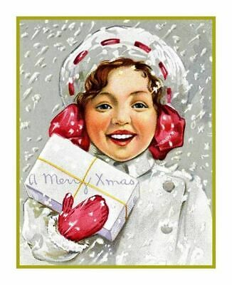 Vintage Christmas Holiday Scene # 500 Girl Present Counted Cross Stitch Pattern