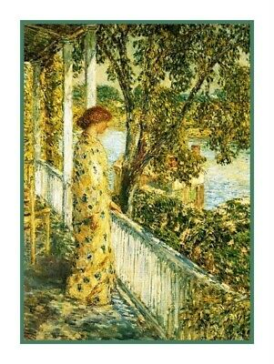 Woman Listens Bird Sing Impressionist Childe Hassam Counted Cross Stitch Pattern