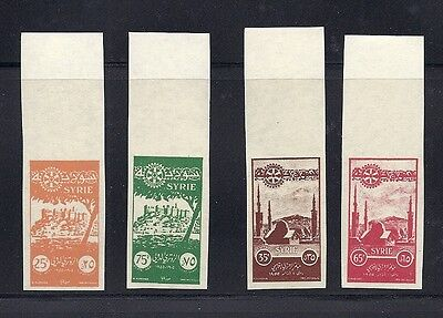 SYRIA 1955 ROTARY Scott C187-190 marginal IMPERF color PROOFS VF MNH